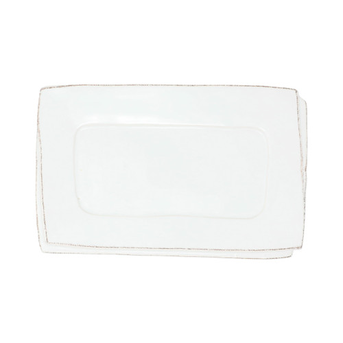"Vietri Lastra White Small Rectangular Tray  LAS-26029W  ""A beautiful combination of bright white with subtle rustic accents, the Lastra White Small Rectangular Tray from plumpuddingkitchen.com is perfect for serving olives and grapes or an assortment of fresh fruit. 