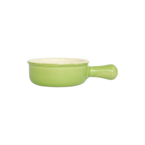 "Vietri Green Small Round Italian Baker  ITB-G2956  ""Featuring scalloped edges and a fun holiday hue, the Italian Bakers Green Small Round Baker with Large Handle from plumpuddingkitchen.com is handcrafted of Italian stoneware in Umbria. This unique size and fun shape is perfect for holiday gatherings and family get-togethers. 