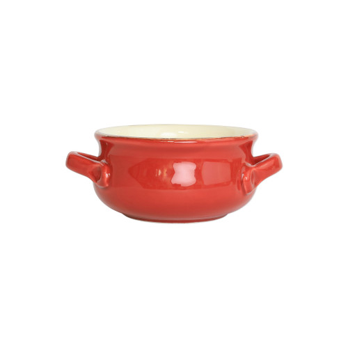 "Red Small Handled Round Italian Baker  ITB-R2955  ""Featuring scalloped edges and a fun holiday hue, the Italian Bakers Red Small Handled Round Baker from plumpuddingkitchen.com is handcrafted of Italian stoneware in Umbria. This unique size and fun shape is perfect for holiday gatherings and family get-togethers. 