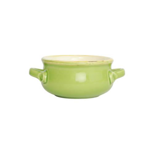 "Green Small Handled Italian Baker  ITBG2955  ""Featuring scalloped edges and a fun holiday hue, the Italian Bakers Green Small Handled Round Baker from plumpuddingkitchen.com is handcrafted of Italian stoneware in Umbria. This unique size and fun shape is perfect for holiday gatherings and family get-togethers. 