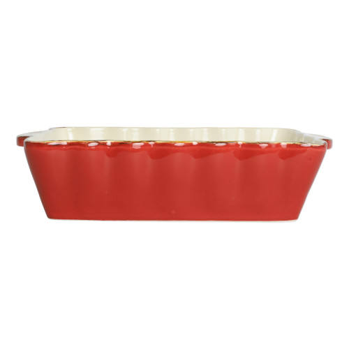 "Vietri Red Medium Rectangular Italian Baker ITB-R2952  ""Featuring scalloped edges and a fun holiday hue, the Italian Bakers Red Medium Rectangular Baker is handcrafted of Italian stoneware in Umbria. This unique size and fun shape is perfect for holiday gatherings and family get-togethers. 