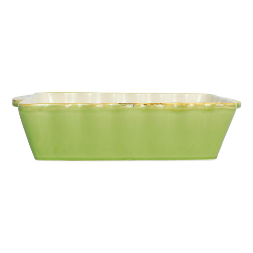 "Vietri Green Medium Rectangular Italian Baker ITB-G2952  ""Featuring scalloped edges and a fun holiday hue, the Italian Bakers Green Medium Rectangular Baker from plumpuddingkitchen.com is handcrafted of Italian stoneware in Umbria. This unique size and fun shape is perfect for holiday gatherings and family get-togethers. 