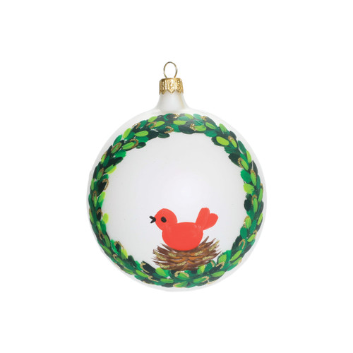 "Vietri Wreath with Red Bird Ornament ORN-27017  Decorate your Christmas tree with the Italian Ornaments Wreath w/ Red Bird Ornament from plumpuddingkitchen.com 4"" Diameter"