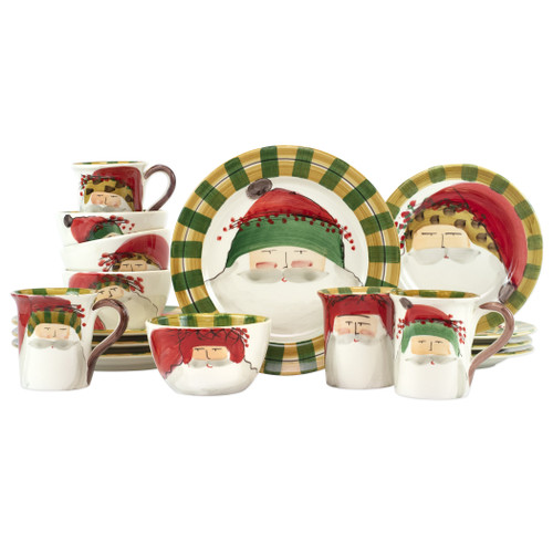 Vietri Old St. Nick Assorted Sixteen-Piece Place Setting  OSN-7800AS-16N  VIETRI's signature holiday collection is created from maestro artisan Alessandro Taddei's childhood memories of stories his mother used to read to him about Babbo Natale, Italy's Santa Claus. Embrace the holiday season with the Old St. Nick Assorted Sixteen-Piece Place Setting which includes 4 assorted dinner plates, 4 assorted salad plates, 4 assorted cereal bowls, and 4 assorted mugs.