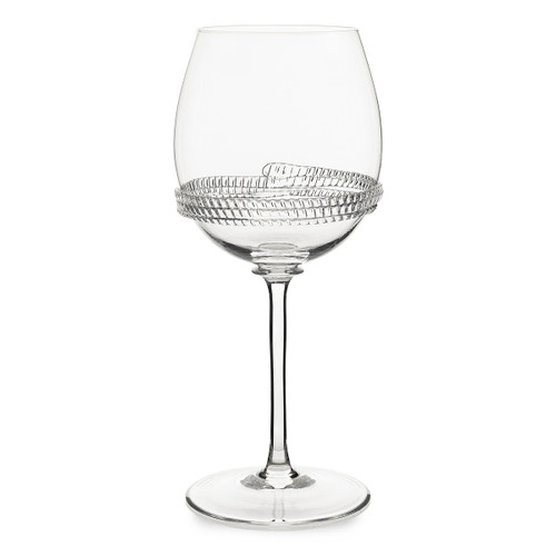 "Juliska  Dean Wine Glass B495/C 3.25""W, 8.25""H, 14oz Juliska's Dean Collection from plumpuddingkitchen.com  - This sturdy yet simple mouth-blown wine glass offers a versatile shape encircled with glass rope detail."