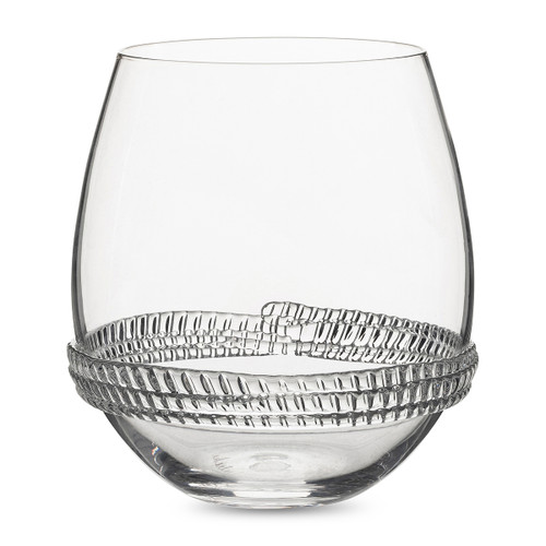 "Juliska Dean Stemless Wine Glass B496/C 3.5""W, 4""H, 14oz Juliska's  Dean Collection from plumpuddingkitchen.com - This sturdy yet simple mouth-blown stemless wine glass offers a versatile shape encircled with glass rope detail."