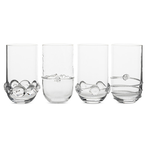 "Juliska Heritage Collectors Set/4 Large Highballs B548SET/C 3""W, 6""H, 18oz Each mouth-blown highball glass in this set of four from plumpuddingkitchen.com features a different signature bohemian motif to create a set that is as handsome as it is unique. Packaged in a gift box."