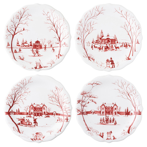 """Juliska Country Estate Winter Frolic """"Mr. & Mrs. Claus"""" Ruby Party Plates Set/4 CE66SET/73 8.5""""D  Juliska's charming English Country Estate is snow covered for the holidays! In this latest chapter of the estate at Christmastime, Santa & Merry celebrate with all the North Pole inhabitants. Each charming party plate from plumpuddingkitchen.com in this set of four features a unique scene:  Santa & Merry ice skating on the pond outside the Boathouse Santa, Merry and the elves caroling in front of the Main House Sleigh rides behind the Main House Feeding the reindeer at the Stable"""