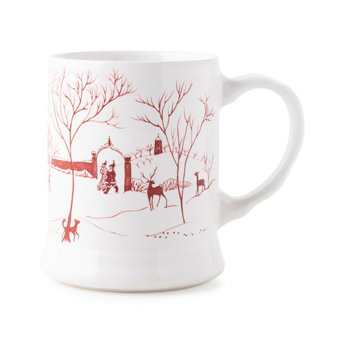 """Juliska Country Estate Winter Frolic """"Mr. & Mrs. Claus"""" Ruby Mug  CE90/73 5""""L, 3.75""""W, 4.5""""H, 14oz  Juliska's charming English Country Estate is snow covered for the holidays! In this latest chapter of the estate at Christmastime, Santa & Merry celebrate with all the North Pole inhabitants. This generously sized mug from plumpuddingkitchen.com features illustrations of the elves ice skating on the pond outside the Boathouse, and Santa & Merry walking arm and arm through the estate."""