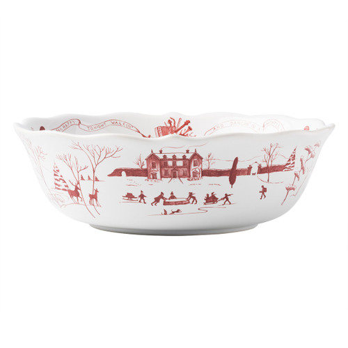 "Juliska Country Estate Winter Frolic Ruby 10"" Serving Bowl CE31X/73 10""L, 10""W, 3""H, 2Qt  From our Country Estate Collection- Our charming English country estate is snow covered for the holidays! This serving bowl, ideal for serving sides or salads, depicts musical merry-making and dancing in the estate's rear gardens."
