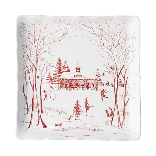 """Juliska Country Estate Winter Frolic Ruby Sweets Tray  CE94/73 8""""Sq  From our Country Estate Collection- Our charming English country estate is snow covered for the holidays! This sweets tray, ideal for truffles or cookies, depicts musical merry-making and dancing in the estate's rear gardens. Packaged in a gift box."""