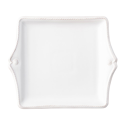 """Juliska Berry & Thread Whitewash Sweets Tray JA09/W 10""""L, 8.25""""W From Juliska's Berry & Thread Collection- Rimmed with a simple thread and adorned with a sprinkling of berries, this iconic dinnerware collection embraces the historic motifs of our Bohemian glassware. This square sweets tray, ideal for truffles or cookies, features two sculpted handles."""