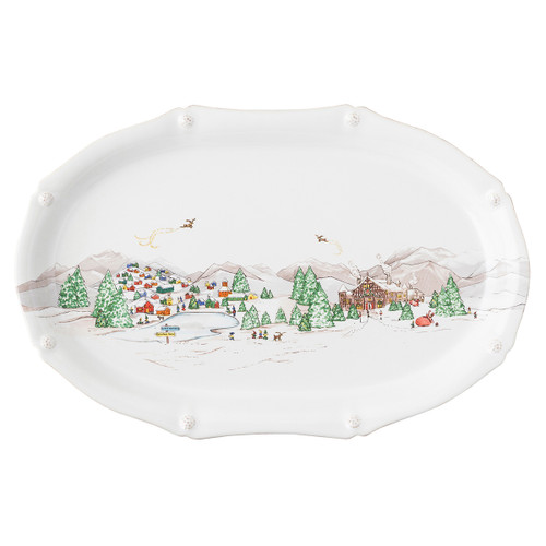 """Berry & Thread North Pole 17"""" Platter  JN73/88 17""""L, 11""""W, 1.5""""H  The mythical, folkloric world of the North Pole is hand illustrated atop iconic Berry & Thread shapes in this new holiday collection. Find the elves' village and toy workshop depicted on this generously sized 17"""" platter with subtly scalloped rim."""