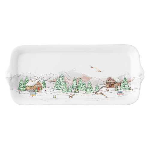 "Juliska Berry & Thread North Pole Hostess Tray JN54/88 14.25""L, 6.5""W The mythical, folkloric world of the North Pole is hand illustrated atop iconic Berry & Thread shapes in this new holiday collection. Find the reindeer barn and Santa's cottage depicted on this Hostess Tray, perfect for appetizers or sweets all throughout the holidays!"