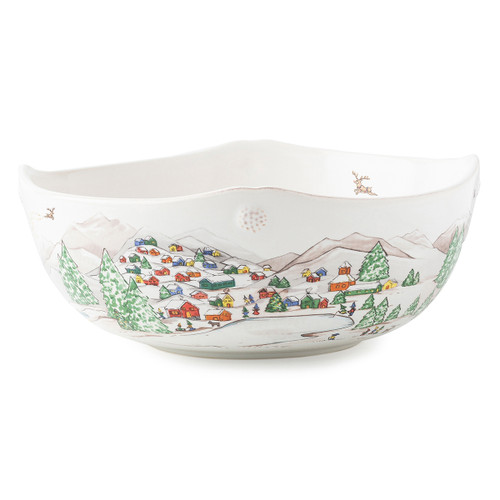 """Juliska Berry & Thread North Pole 10"""" Serving Bowl JN31/88 10""""D, 4""""H, 2Qt The mythical, folkloric world of the North Pole is hand illustrated atop iconic Berry & Thread shapes in this new holiday collection. Find the elves' village and Santa's cottage depicted on this serving bowl with subtle scallop and berry detail along its edge."""