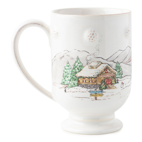 "Juliska Berry & Thread North Pole Mug  JN46/88 5""L, 3""w, 4.75""H, 12oz  The mythical, folkloric world of the North Pole is hand illustrated atop iconic Berry & Thread shapes in this new holiday collection. Find Santa's cottage depicted on this mug with subtle berry detail."