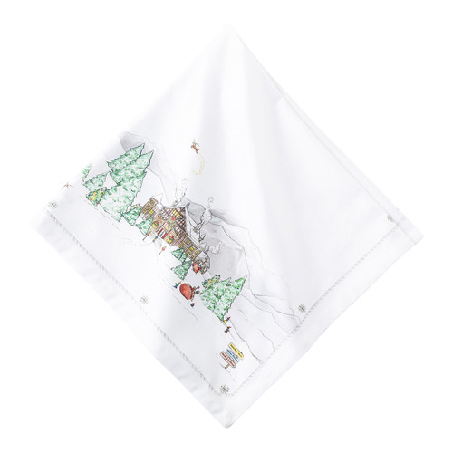 """Juliska Berry & Thread North Pole Napkin LB81/88 22"""" Sq  The mythical, folkloric world of the North Pole is hand illustrated in this new holiday collection. This napkin is digitally printed on 100% cotton sateen.  Machine wash cold, gentle cycle. Tumble dry low, warm iron as needed."""