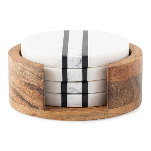 """Juliska Stonewood Stripe Coaster Set MS10/390 4.5""""W, 2""""H  Rich layers of acacia wood and stripes of hand marbled resin are juxtaposed to create the distinct, unique look of our Stonewood Stripe collection. This coaster set features a wood base and four marble coasters that nest inside."""