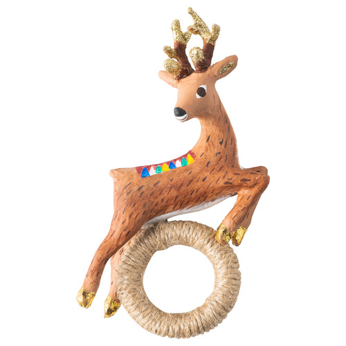 """Juliska Reindeer Napkin Ring Set/4 LR68SET/02 3.25""""L, 1.25""""W, 5""""H  A joyously leaping reindeer, resin, hand-painted sits atop a wrapped jute string ring. This napkin ring is packaged as a set of four, in a gift box."""