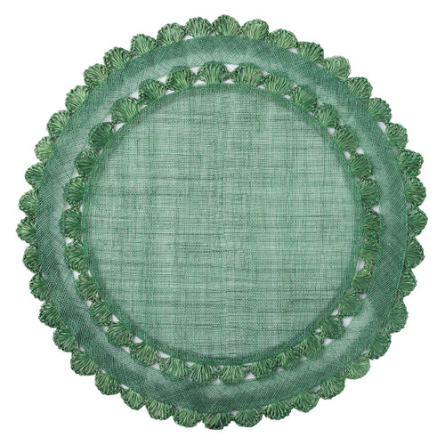 """Juliska Isadora Evergreen Placemat Set/4  LM44/29 15""""D  Natural fibers are woven in a rich green hue and embellished by a ruffled trim to create a frame for table settings that is both relaxed and elegant.  Spot clean as needed."""