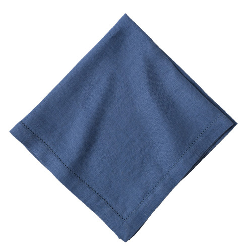 """Juliska Heirloom Linen Delft Blue Napkin Set/4 LB57/44 20""""Sq  Our specially crafted fabric is gently washed for a soft hand that just gets better over time, reminiscent of an heirloom linen. Our napkin features a subtle herringbone weave with a delicate hemstitch border. Thoughtfully designed to combine natural texture with classic pattern."""