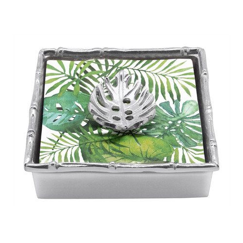 "Mariposa Tropical Leaf Bamboo Napkin Box  4202-C 5.75""Sq, 1.5""H Tropical Leaf Bamboo Napkin Box Recycled Sandcast Aluminum"