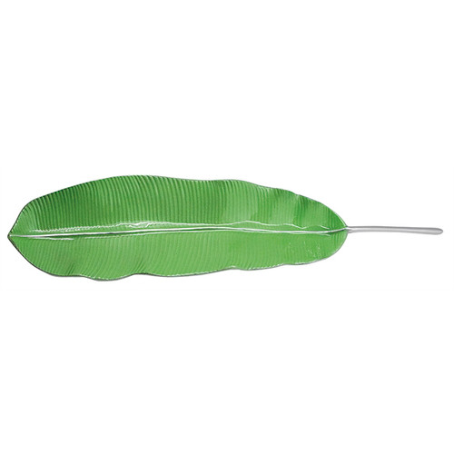 "Mariposa Green Banana Leaf Server  448 25.5""L, 6""W, 2.25""H Our beautiful Green Banana Leaf Server gets a punch of tropical color. Part of our Palmy Nights collection, this tray looks gorgeous displayed alone or piled high with your favorite appetizers. Recycled Sandcast Aluminum"