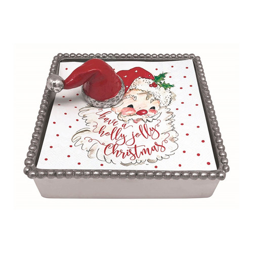 Mariposa Red Santa Hat Napkin Box  4214-C  5.75in L x 5.75in W x 1.5in H