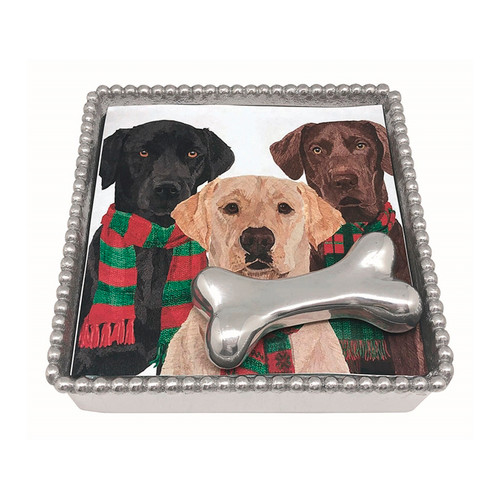 Mariposa Dog Bone Beaded Labs Napkin Box  4215-C 5.75in L x 5.75in W x 1.5in H