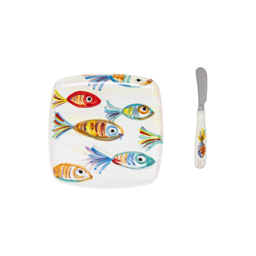 "Vietri Pesci Colorati Square Plate with Spreader - Gift Boxed  PSE-78551-GB  6.75"" SQ  Vietris Pesci Colorati from plumpuddingkitchen.com portrays the subtle nuances of a varied school of fish in bold, saturated colors while maestro artisans embrace their craft to illustrate the careful attention to detail in this one-of-a-kind design.  Handpainted on terra bianca in Tuscany."