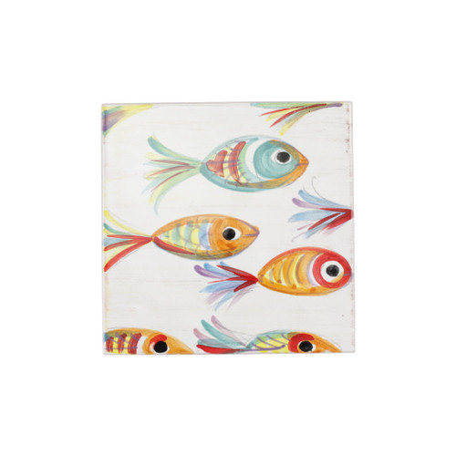 "Vietri Pesci Colorati Trivet  PSE-7850  8"" SQ  Vietris Pesci Colorati from plumpuddingkitchen.com portrays the subtle nuances of a varied school of fish in bold, saturated colors while maestro artisans embrace their craft to illustrate the careful attention to detail in this one-of-a-kind design.  Handpainted on terra bianca in Tuscany.   Dishwasher Safe."