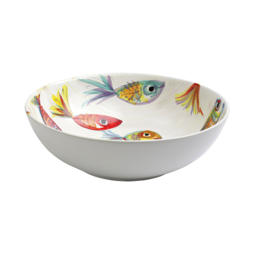 "Vietri Pesci Colorati Deep Bowl  PSE-7833  11""D, 3.25""H  Vietris Pesci Colorati from plumpuddingkitchen.com portrays the subtle nuances of a varied school of fish in bold, saturated colors while maestro artisans embrace their craft to illustrate the careful attention to detail in this one-of-a-kind design.  Handpainted on terra bianca in Tuscany.   Dishwasher Safe."