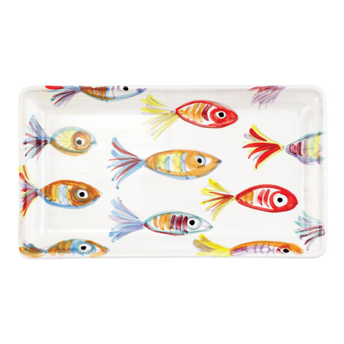 "Vietri Pesci Colorati Rectangular Platter  PSE-7827  14""L, 7.75""W  Vietris Pesci Colorati from plumpuddingkitchen.com portrays the subtle nuances of a varied school of fish in bold, saturated colors while maestro artisans embrace their craft to illustrate the careful attention to detail in this one-of-a-kind design.  Handpainted on terra bianca in Tuscany.   Dishwasher Safe."