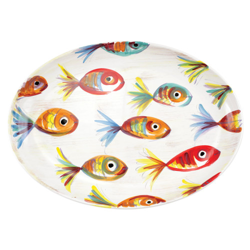 "Vietri Pesci Colorati Oval Platter  PSE-7826  17.5""L, 12.25""W  Vietris Pesci Colorati from plumpuddingkitchen.com portrays the subtle nuances of a varied school of fish in bold, saturated colors while maestro artisans embrace their craft to illustrate the careful attention to detail in this one-of-a-kind design.  Handpainted on terra bianca in Tuscany.   Dishwasher Safe."