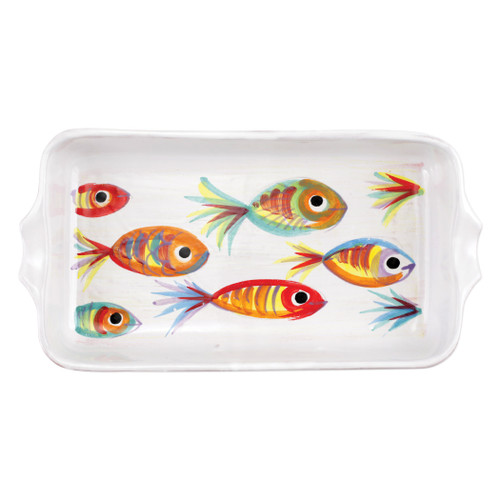 "Vietri Pesci Colorati Rectangular Baker  PSE-78062  14.75""L, 8""W, 2.25""H  Vietris Pesci Colorati from plumpuddingkitchen.com portrays the subtle nuances of a varied school of fish in bold, saturated colors while maestro artisans embrace their craft to illustrate the careful attention to detail in this one-of-a-kind design.  Handpainted on terra bianca in Tuscany.   Dishwasher Safe."