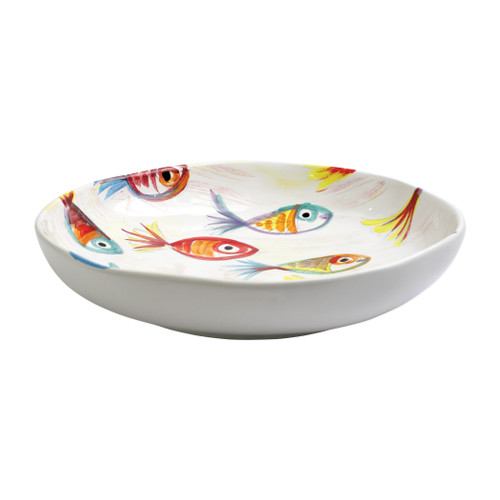 "Vietri Pesci Colorati Shallow Bowl  PSE-7822  13.5""D, 2.75""H  Vietris Pesci Colorati from plumpuddingkitchen.com portrays the subtle nuances of a varied school of fish in bold, saturated colors while maestro artisans embrace their craft to illustrate the careful attention to detail in this one-of-a-kind design.  Handpainted on terra bianca in Tuscany.   Dishwasher Safe."