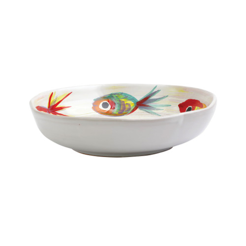 "Vietri Pesci Colorati Pasta Bowl  PSE-7804  8.5"", 2""H  Vietri's Pesci Colorati from plumpuddingkitchen.com portrays the subtle nuances of a varied school of fish in bold, saturated colors while maestro artisans embrace their craft to illustrate the careful attention to detail in this one-of-a-kind design.  Handpainted on terra bianca in Tuscany.   Dishwasher Safe."