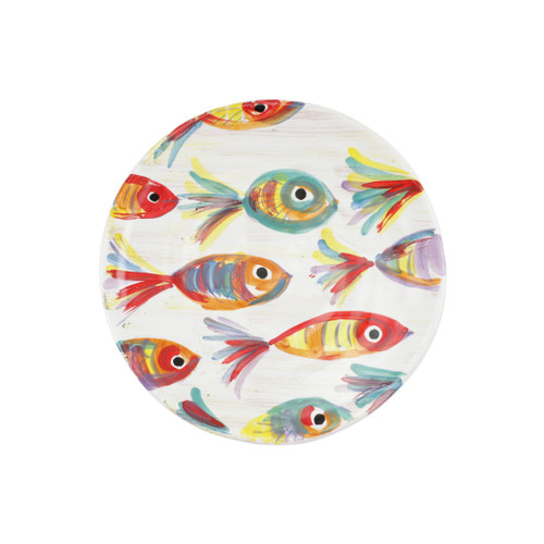 """Vietri Pesci Colorati Salad Plate  PSE-7801  9""""D  Vietri's Pesci Colorati from plumpuddingkitchen.com portrays the subtle nuances of a varied school of fish in bold, saturated colors while maestro artisans embrace their craft to illustrate the careful attention to detail in this one-of-a-kind design.  Handpainted on terra bianca in Tuscany.   Dishwasher Safe."""
