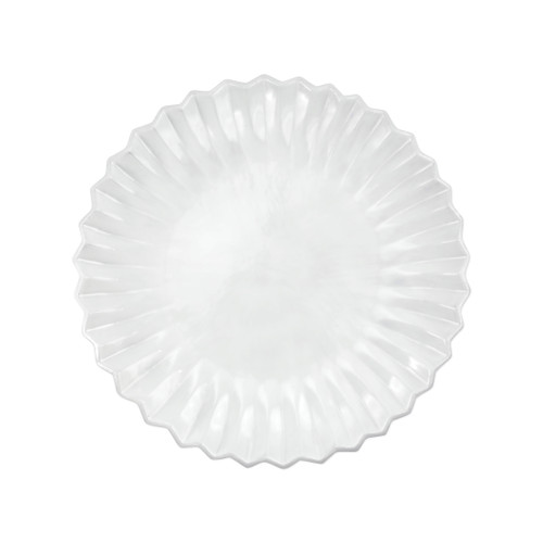 """Vietri Incanto Pleated European Dinner Plate  INC-1116PL 11""""D  The Incanto White Pleated European Dinner Plate from plumpuddingkitchen.com will create a unique setting on your table. Mix and match with other Incanto designs to create a layered and dynamic look."""
