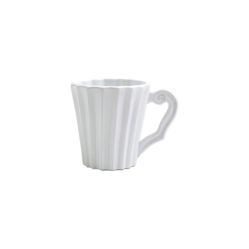 "Vietri Incanto Pleated Mug  INC-1110PL 4""H, 12oz  The Incanto White Pleated Mug from plumpuddingkitchen.com will create a unique setting on your table. Mix and match with other Incanto designs to create a layered and dynamic look."