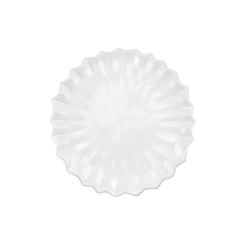 """Vietri Incanto Pleated Salad Plate  INC-1101PL 9""""D  The Incanto White Pleated Salad Plate from plumpuddingkitchen.com will create a unique setting on your table. Mix and match with other Incanto designs to create a layered and dynamic look."""