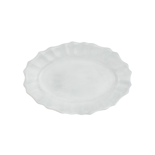 """Vietri Incanto Scallop Small Oval Tray  INC-11021 9.5""""L, 6.6""""W  The Incanto White Scallop Small Oval Tray from plumpuddingkitchen.com will create a unique setting on your table. Mix and match with other Incanto designs to create a layered and dynamic look."""