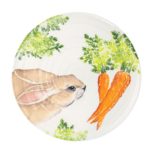 "Vietri Spring Vegetables Round Platter  SVG-9723 14.25""D  SPRING VEGETABLES Handpainted by maestro artisan, Gianluca Fabbro, using a unique sponging technique, an adorable hare and fresh vegetables depict a vibrant picture of spring.  A colorful mix of spring garden classics from plumpuddingkitchen.com come to life in an assortment of eating pieces and serving accessories in this beautiful collection.  Handpainted on terra bianca in Veneto. Dishwasher and microwave safe."