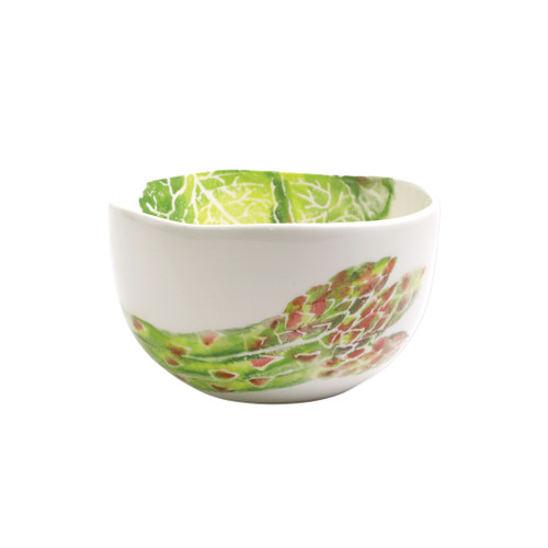 "Vietri Spring Vegetables Small Deep Serving Bowl  SVG-9707 9.5""D, 5""H SPRING VEGETABLES Handpainted by maestro artisan, Gianluca Fabbro, using a unique sponging technique, an adorable hare and fresh vegetables depict a vibrant picture of spring.  A colorful mix of spring garden classics from plumpuddingkitchen.com come to life in an assortment of eating pieces and serving accessories in this beautiful collection.  Handpainted on terra bianca in Veneto. Dishwasher and microwave safe."