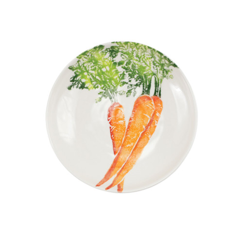 "Vietri Spring Vegetables Carrot Pasta Bowl  SVG-9704C 9.5""D  SPRING VEGETABLES Handpainted by maestro artisan, Gianluca Fabbro, using a unique sponging technique, an adorable hare and fresh vegetables depict a vibrant picture of spring.  A colorful mix of spring garden classics from plumpuddingkitchen.com come to life in an assortment of eating pieces and serving accessories in this beautiful collection.  Handpainted on terra bianca in Veneto. Dishwasher and microwave safe."