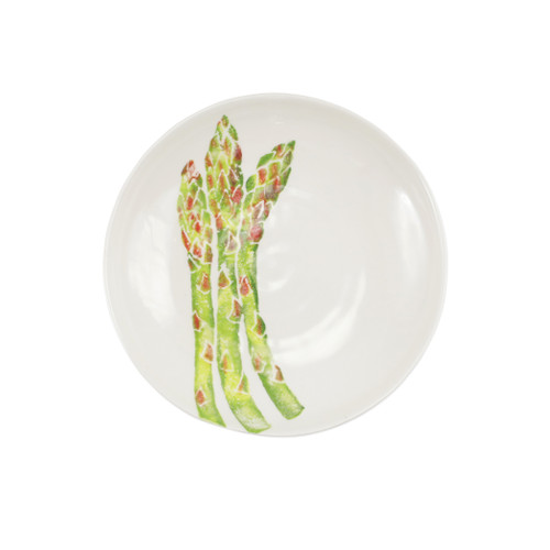 "Vietri Spring Vegetables Asparagus Pasta Bowl  SVG-9704A 9.5""D  SPRING VEGETABLES Handpainted by maestro artisan, Gianluca Fabbro, using a unique sponging technique, an adorable hare and fresh vegetables depict a vibrant picture of spring.  A colorful mix of spring garden classics from plumpuddingkitchen.com come to life in an assortment of eating pieces and serving accessories in this beautiful collection.  Handpainted on terra bianca in Veneto. Dishwasher and microwave safe."