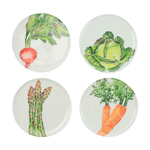 "Vietri Spring Vegetables Assorted Pasta Bowls Set/4  SVG-9704 9.5""D  SPRING VEGETABLES Handpainted by maestro artisan, Gianluca Fabbro, using a unique sponging technique, an adorable hare and fresh vegetables depict a vibrant picture of spring.  A colorful mix of spring garden classics from plumpuddingkitchen.com come to life in an assortment of eating pieces and serving accessories in this beautiful collection.  Handpainted on terra bianca in Veneto. Dishwasher and microwave safe."