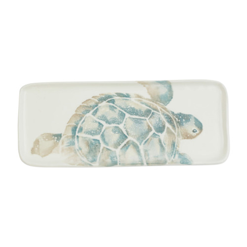 "Vietri Tartaruga Narrow Rectangular Tray  TAR-9735 13.5""L, 5.5""W  Maestro artisan, Gianluca Fabbro, uses a unique sponging technique on Tartaruga, blending soft hues of the sea and sand to illustrate the story of baby sea turtles leaving their nest for the first time.  Handpainted on terra bianca in Veneto.  Dishwasher and microwave safe."
