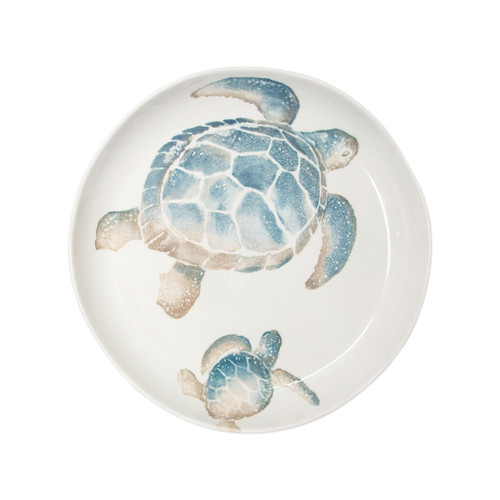 "Vietri Tartaruga Round Shallow Bowl  TAR-9733 13.5""D  Maestro artisan, Gianluca Fabbro, uses a unique sponging technique on Tartaruga, blending soft hues of the sea and sand to illustrate the story of baby sea turtles leaving their nest for the first time.  Handpainted on terra bianca in Veneto.  Dishwasher and microwave safe."