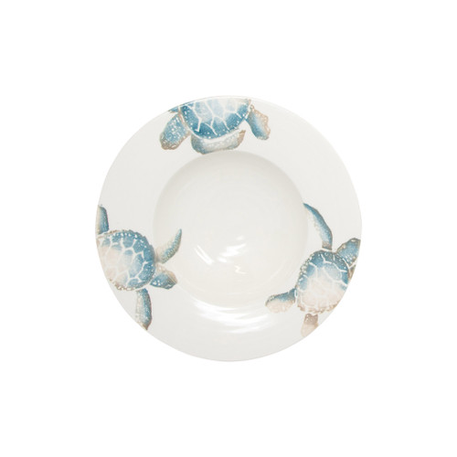 "Vietri Tartaruga Small Serving Bowl  TAR-9732 10.25D, 3""H  Maestro artisan, Gianluca Fabbro, uses a unique sponging technique on Tartaruga, blending soft hues of the sea and sand to illustrate the story of baby sea turtles leaving their nest for the first time.  Handpainted on terra bianca in Veneto.  Dishwasher and microwave safe."
